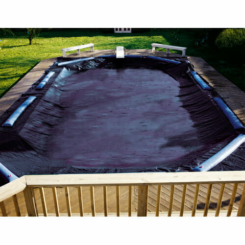 In ground oval deluxe winter cover diy pool liners plus for Swimming pool winter cover clips
